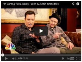 Fallon and Timberlake's Hashtag Sketch. Click to watch.