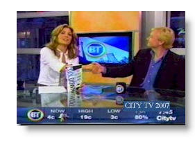 Steve Prentice on CITY-TV's Breakfast Television with host Dina Pugliese.
